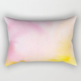 Yellow blush pink watercolor abstract brushstrokes pattern Rectangular Pillow