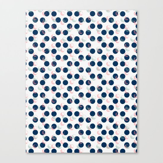 Blue Polka Dots And Scribbles Canvas Print