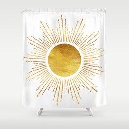 Golden Sunburst Starburst White Hot Shower Curtain