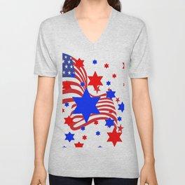 PATRIOTIC JULY 4TH AMERICAN FLAG ART Unisex V-Neck