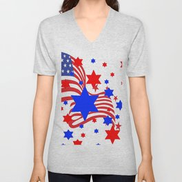 PATRIOTIC JULY 4TH AMERICAN FLAG ART Unisex V-Neck