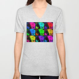 Colorful Pop Art Dachshund Doxie Face Closeup Tiled Image Unisex V-Neck