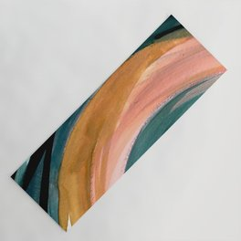 Breathe: a vibrant bold abstract piece in greens, ochre, and pink Yoga Mat