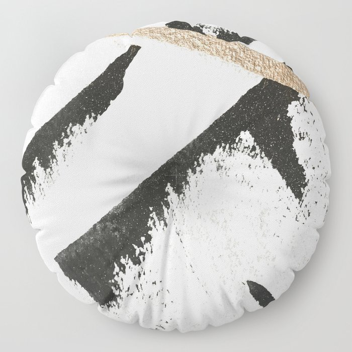 Sassy: a minimal abstract mixed-media piece in black, white, and gold by Alyssa Hamilton Art Floor Pillow