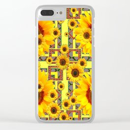KANSAS WESTERN STYLE YELLOW SUNFLOWER FLORAL Clear iPhone Case