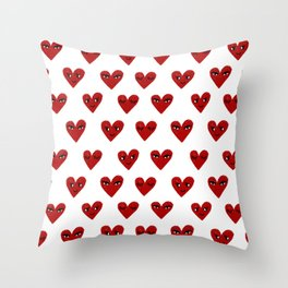 Heart love valentines day gifts hearts with faces cute valentine Throw Pillow