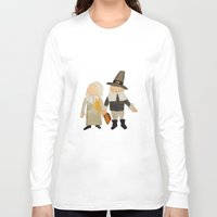 toddler Long Sleeve T-shirts featuring Thanksgiving Pilgrim Toddler Girl and Boy Couple by PodArtist