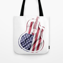 USA Flag Pattern On A Guitar Tote Bag