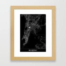 Mumbai Black Map Framed Art Print