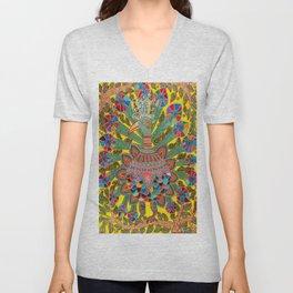 A Rainbow Peacock On A Rainy Day Unisex V-Neck