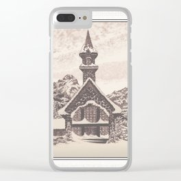 STONE CHURCH IN A WINTER MARKLE SKY PEN DRAWING Clear iPhone Case
