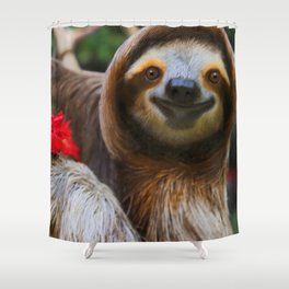 Happy sloth eating hibiscus flowers Shower Curtain