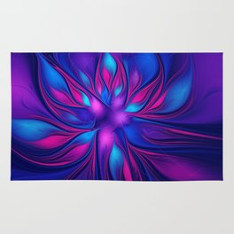 Pink Blue Fantastic Flower | Aqua, purple flowers Rug