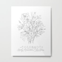 Colorado Sketch Metal Print