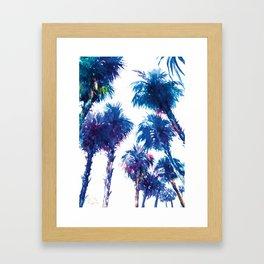 Blue Palms, california, palm tree, palms art, navy blue beach palm Framed Art Print