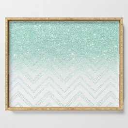Faux teal glitter ombre modern chevron pattern Serving Tray