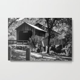 Honey Run Bridge in Black and White Metal Print