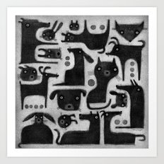 BLACK CRITTER ASSORTMENT Art Print