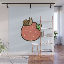 Cute snail on strawberry Wall Mural