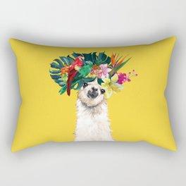 Aloha Hawaii Llama in Yellow Rectangular Pillow