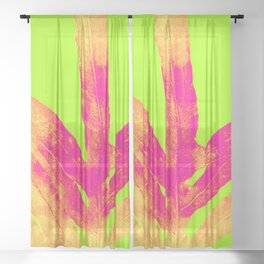 Green and Ultra Bright Coral Fern Sheer Curtain