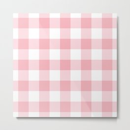Coral Gingham Pattern Metal Print