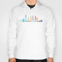 new york skyline Hoodies featuring New York Skyline Black by Christopher Dina
