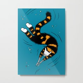 Weird Cat With Bone Hands Swimming Happily Metal Print