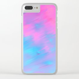 Modern artistic pink teal watercolor brushstrokes Clear iPhone Case