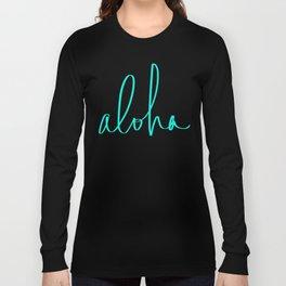 Aloha Tropical Turquoise Long Sleeve T-shirt