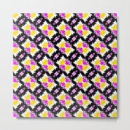 Category Five Pink Yellow Black White Pattern Metal Print