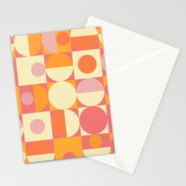 Thoroughly Modern Pink And Orange Geometric Design Stationery Cards