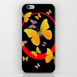 YELLOW BUTTERFLIES & RED RING  ABSTRACT ART iPhone Skin