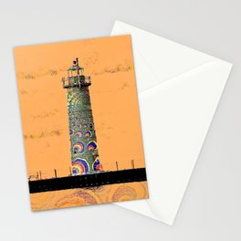 """Whimsical Lighthouses"" - Orange Sherbert & Swirls - Muskegon Lights Stationery Cards"
