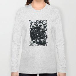Black Lino Skull Long Sleeve T-shirt