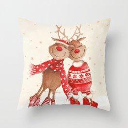 Dancing Elks Throw Pillow