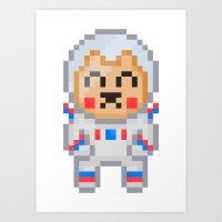 8bit Art Prints featuring 8Bit Astrobear by Bear Picnic