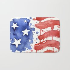 American Flag Watercolor Abstract Stars and Stripes Bath Mat
