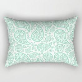 Paisley (Mint & White Pattern) Rectangular Pillow