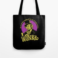 willy wonka Tote Bags featuring Willy W quote v2 by Buby87