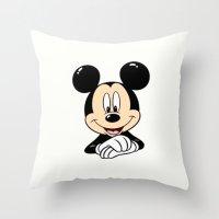 mickey Throw Pillows featuring Mickey by Yuliya L