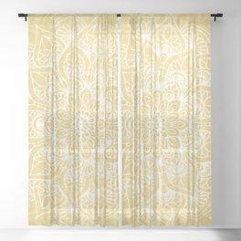 Mandala, Boho Summer, Yellow Flower of Life Sheer Curtain