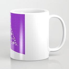 Christmas Tree Of Snowflakes and Stars On Violet Background Coffee Mug