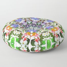 Spring wildflower mandala 2 Floor Pillow