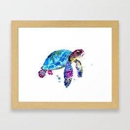 Sea Turtle, Blue Purple Turtle illustration, Sea Turtle design Framed Art Print