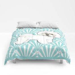 Bichon Frise at the beach / seashell blue Comforters