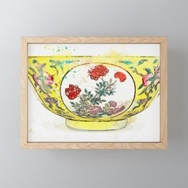 A FINE FAMILLE-ROSE YELLOW-GROUND 'MEDALLION' BOWL watercolor by Ahmet Asar Framed Mini Art Print