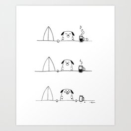 A Surf Dog Drinking Coffee Doodle Art Print