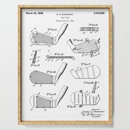 Golf Clubs Patent - Golfing Art - Black And White Serving Tray