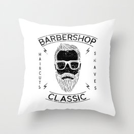 Barber Hairstylist Barbershop Classic Haircut Shave Throw Pillow